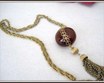 Tassel Necklace - Amber Lucite Gold Tone -  30 inch Chain Necklace
