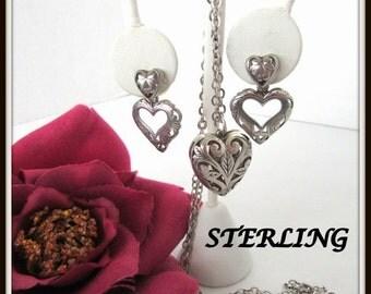Sterling Heart Necklace Earrings -  Open Work Heart Pendant - Chain Earrings