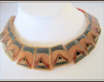 Art Deco Style Necklace - Lucite Panels - Coral Bead Choker