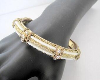 Rhinestone Bangle White Lucite Gold Mesh Bracelet