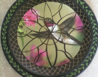 Mosaic Hummingbird Pieced and Decoupaged on Stoneware Plate with Hand Painted Border