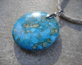 Ivory Leatherette Necklace with Mosaic Turquoise Pendant, Statement Necklace, Gemstone Necklace, Boho Jewelry