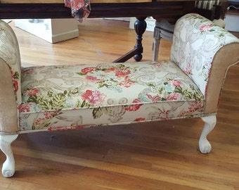 """SOLD....Shabby Chic French """"Bella"""" Upholstered Bench"""