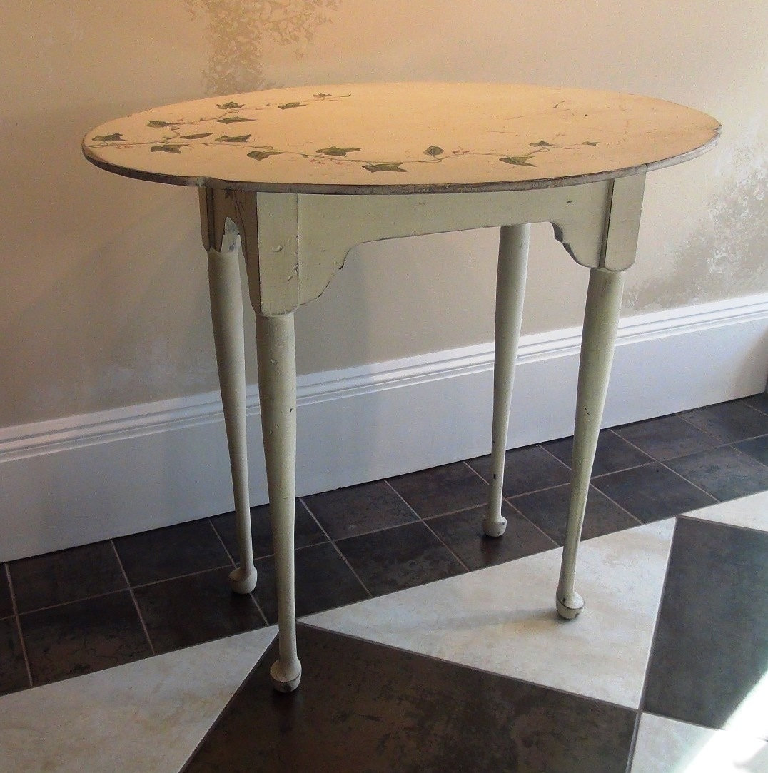 Vintage side table tall skinny legs painted vine top with for Tall thin end tables