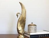 Vintage Brass Swan Statue Brass Bird Animal Figurine Gold Metallic French Apartment Art Nouveau Decor