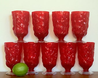 Vintage Red Water Goblets Seneca Glass Driftwood Ruby Red Holiday Christmas Drinkware Barware