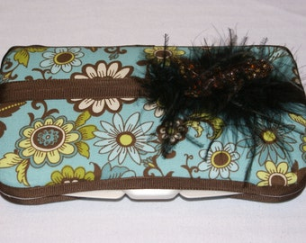 Feathers and Flowers Fancy Baby Wipe Case