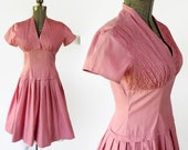 50s Rockabilly Swing Dress Crisscross Pintuck Bodice Pink Cotton