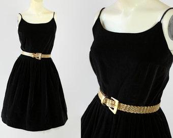 60s Kerrybrooke Dress / LBD / Cotton Velvet / Party / Holiday