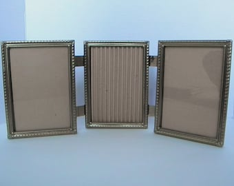 5x7 Triple Gold Metal Hinged Picture Frames