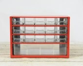 Vintage Red Parts Drawers Industrial Parts Bin Metal Storage 16 Drawers