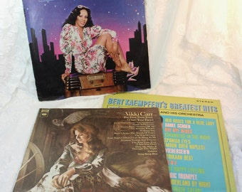 1960's - 1970's Album Set- 33 rpm Vintage vinyl record LP - Set of three albums- Vikki Carr, Bert Kaempfert, Donna Summer- retro music