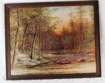 Antique Lithograph Numbered Print- A Quiet Brook- Copyright 1908 by A. Fox, Philadelphia- Autumn Woodland Scene- Large 21 by 17-1/2 in Frame