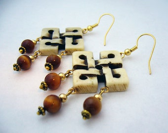 Cernunnos Horn and Tiger's Eye Dangle Earrings