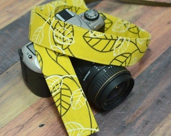 Leaves on Mustard Yellow - Camera Strap - Nikon Camera Strap - Gift for Mother - Valentine's Day - Canon Camera Strap - dSLR Camera Strap