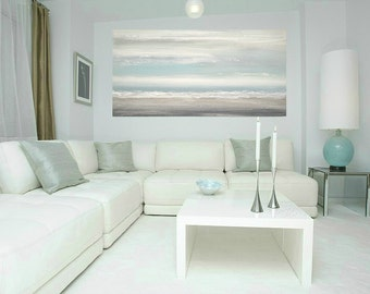 Art, Large Painting, Original Abstract, Acrylic Paintings on Canvas by Ora Birenbaum Titled: Soft Clouds 4 24x48x1.5""