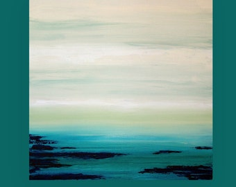 Art Painting Abstract Acrylic Original Ocean Seascape Abstract Acrylic Painting by Ora Birenbaum Titled: Contemplate 5 40x40x1.5""