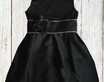 Black Flower Girl Dress - Little Black Dress - Girls Black Dress - Girls Birthday Dress - Birthday Outfit - Black Party Dress - Flower Girl