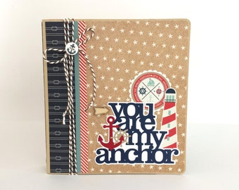 Nautical Scrapbook Album Kit or Premade Anchor Family Friend Cruise