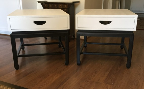 Pair Of White & Black Mid Century Modern End Tables Reserve