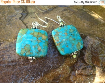 Jewelry Earrings Dangle Earrings , Turquoise ,Composition Marbled Blue and Amber