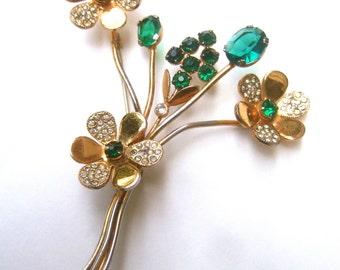 1940s Sterling Vermeil Emerald Crystal Flower Spray Brooch
