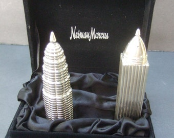 NEIMAN MARCUS Silver Metal Sky Scrapper Salt & Pepper Shakers in NM box