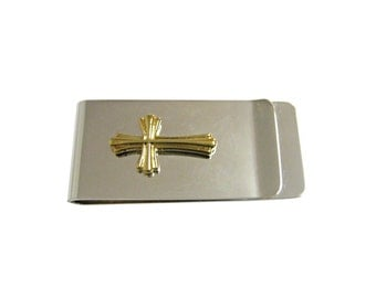 Gold Toned Intricately Detailed Cross Money Clip