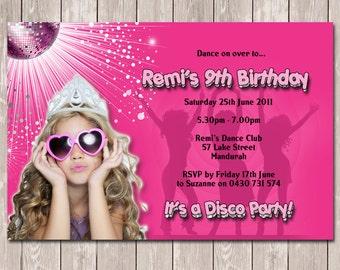 Disco Dance Photo Personalised Birthday Invitation - YOU PRINT