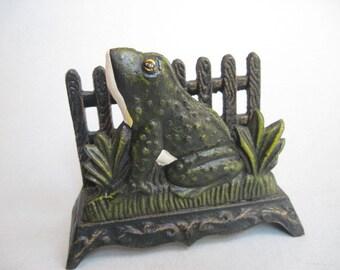 Vintage Cast Iron Frog Napkin, Bill or Mail Holder
