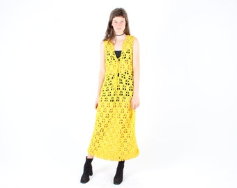 70s Handmade YELLOW CROCHET Open Knit Sheer Sleeveless Maxi Dress
