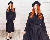 Vintage black midi skirt,maxi skirt,pleated skirt,50s style skirt,black skirt,
