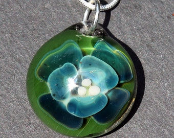 Glass Implosion Flower, Hand Blown Lampwork Boro pendant Blue and Green Sparkling Flower Pendant