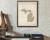 Michigan by County - Typography Print