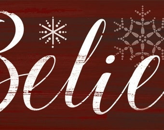 Christmas signs, Believe Holiday wall sign, Holiday Believe sign, Christmas plaque, Winter decor,Holiday decor,available in green or red