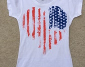 American Flag T-Shirt • Distressed • Vintage • Heart