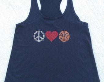 Ladies Flowy Tank • Peace Love Basketball • Rhinestone