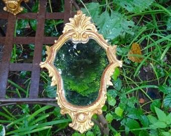 Italianate Mirror, Gold Leaf Mirror, Wood Mirror, Baroque Mirror, Ornate Wall Decor, Gold Mirror, Rococo Mirror, 1970s Made in Italy Mirror