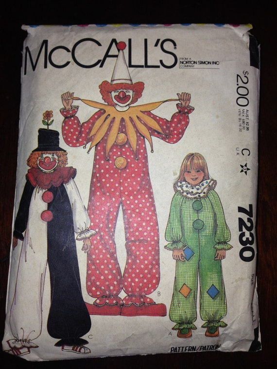McCall's 7230 80s Sewing Pattern Adult Clown Costume Size 32-34