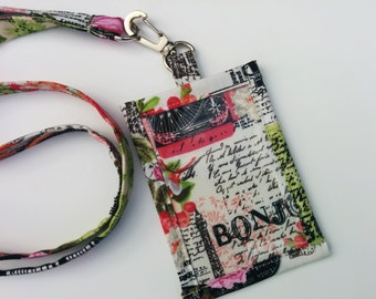 ID Holder / Vintage Look Shabby Chic Paris Themed  Fabric Clip On Travel Tag  ID Holder with Hidden Cash Stash with Matching Lanyard