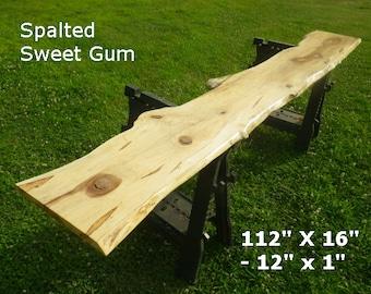 Live Edge Spalted Sweet Gum Finished Wood Slab Work Station, Long Desk Top, Natural Edge Shelving, Counter Top, Display Shelf, Bar Top 9011