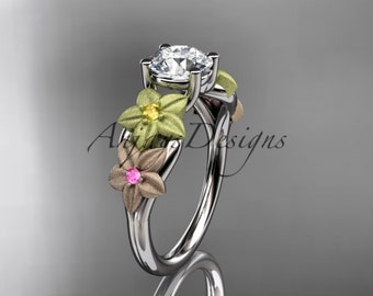 14kt tri color gold floral  unique engagement ring,wedding ring ADLR169