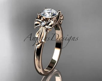 """14kt rose gold diamond unique engagement ring, wedding ring with a """"Forever One"""" Moissanite center stone ADER154"""