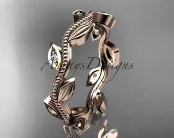 14kt rose gold diamond leaf wedding ring, engagement ring, wedding band ADLR117B