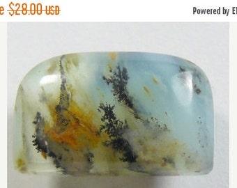 Blue Peruvian dendritic Opal designer cabochon, half dome shape, natural cabochon, small cab.  (po9861)