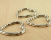 Large HEART Split Rings for Key Ring and Key Chains - Heavy Duty, 25mm  Shiny Platinum Silver Tone. Pick your quantity from dropdown.