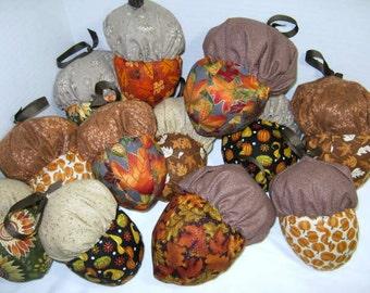 Fabric Acorn Ornaments, Cloth Acorn Ornies, Fall Decoration Set of 6, 3 Large Acorns, 3 Small Acorns