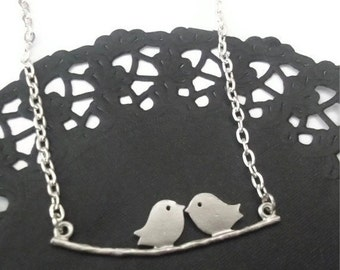 Silver Bird Necklace, Birdy and Branch