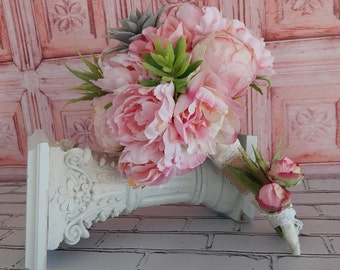 Blush Pink Peony Wedding Bouquet - Pink Peony Bridal Bouquet- Succulent Bouquet- Boutonniere- Ready To Ship