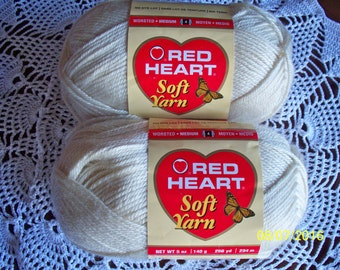 5 Ounce Skein of Off White Red Heart Soft Acrylic Yarn
